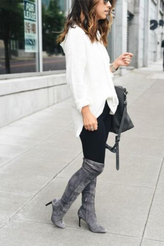 f5eebd1d021 Cole Haan Suede Leather Grey Over The Knee Tall Black Boots Image 10.  1234567891011