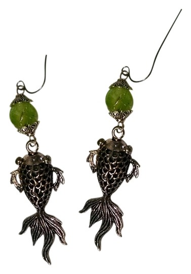 Other New Fish Earrings Dangle Agate Gemstone Green Silver J791 Summersale