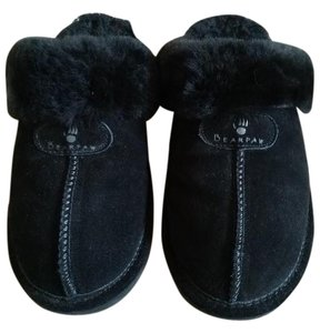 Bearpaw Slippers Ugg Suede Sheepskin Slip On Black Mules