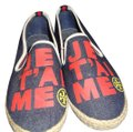 Tory Burch Canvas Espadrille Leather Dark Denim Blue Red Gold/Yellow Flats Image 0