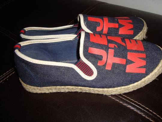 Tory Burch Canvas Espadrille Leather Dark Denim Blue Red Gold/Yellow Flats Image 3
