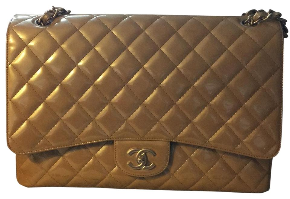 0f5b7a25070a Chanel Classic W Pearly Maxi Flap W/ Matte Ghw Beige Patent Leather ...