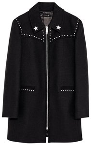Zara Military Metallic Hardware Star Details Lapel Collar Coat
