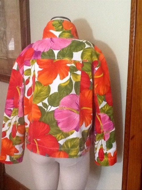 Chico's Pink and Red Mixed Color Jacket Jacket