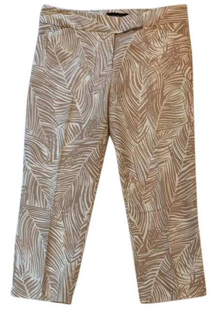 Item - Tan and White Bamboo Pants Size Petite 6 (S)