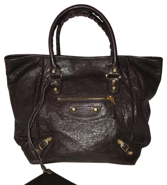 Item - Bag New Giant Velo Brown Lambskin Leather Tote