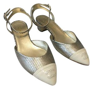 Chanel Ankle Strap Cc Captoe Metallic Beige Pumps