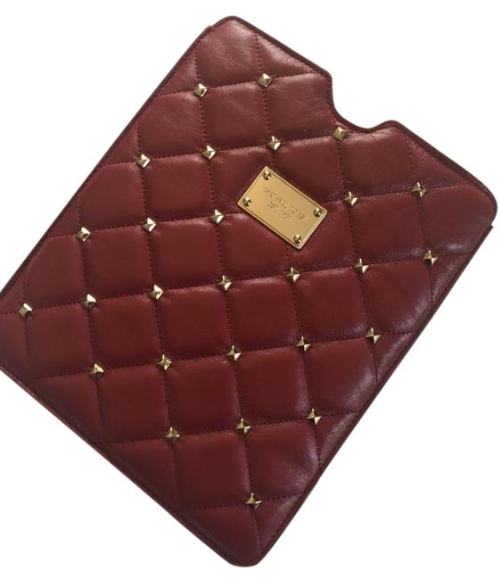Item - Red Gold Studded Leather Ipad Slip Tech Accessory