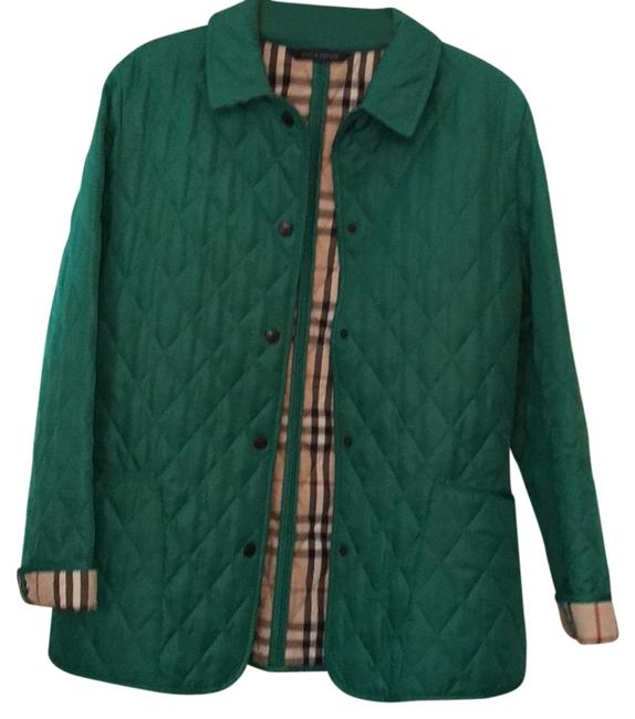 Item - Green Check Detail Diamond Quilted Jacket Size 8 (M)