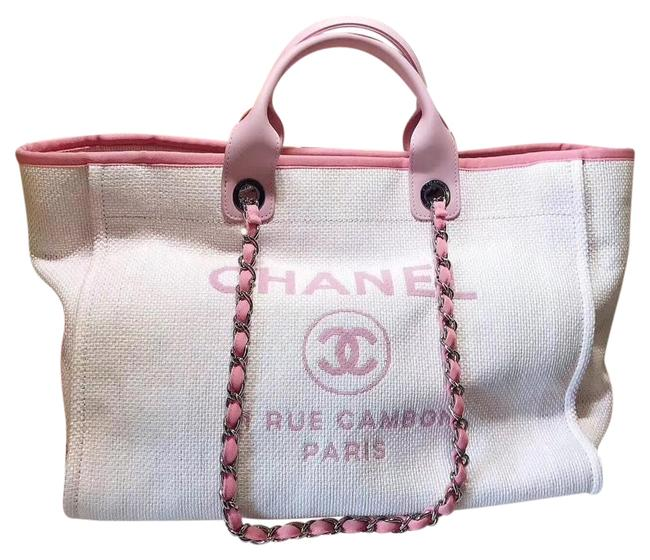 Item - Deauville Large Pink and Cream Canvas Tote