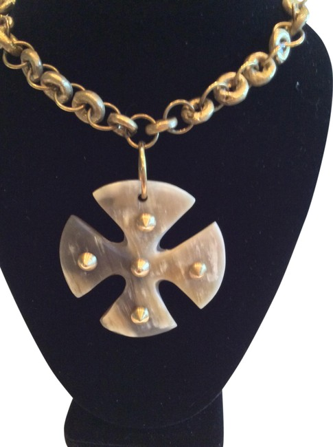 Item - White and Gold Cross Pendant Necklace