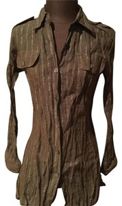 Chico's Button Down Shirt Taupe