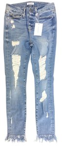 Good American Ripped Frayed High Rise Skinny Jeans-Light Wash