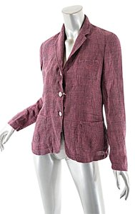 Massimo Alba Pink/Black Garden Jacket Linen Hot Pink/Black Plaid Blazer