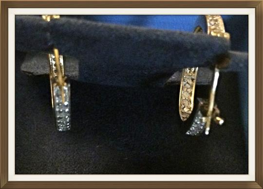 Other 18KT Y/G Over S/S .90CTW DIAMOND HOOPS