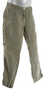 Massimo Alba Linen Houndstooth Trouser Pants Black/Chartreuse