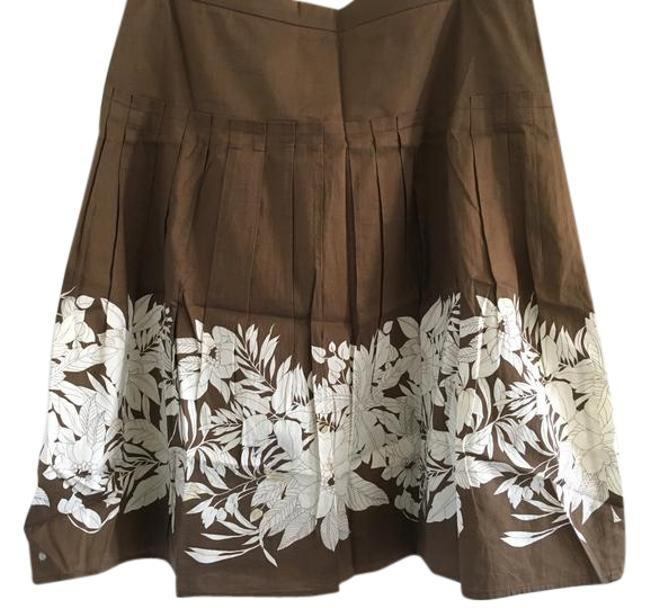 Item - Brown. White With Flower Detail Skirt Size 4 (S, 27)