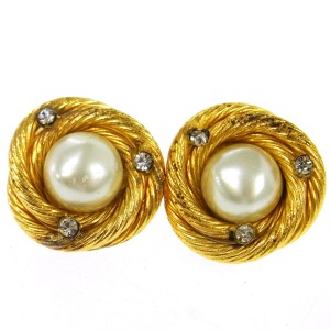 Chanel CHANEL Vintage CC Logos Pearl Earrings