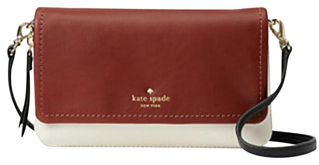 Item - New Cobble Hill Taryn White/Brown Black Strap Dust Included Leather Cross Body Bag