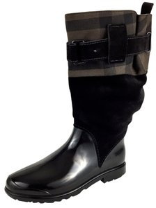 Burberry Midcalf Rain Holloway Canvas Made In Italy Canvas Black Boots