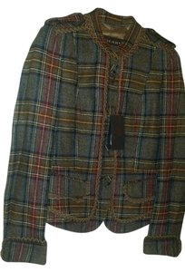 Burberry Prorsum Rare Vintage Runway 100% Wool brown and multicolor plaid Jacket