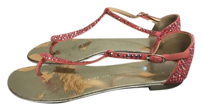 Item - Silver with Coral Stones Sandals Size US 8 Regular (M, B)