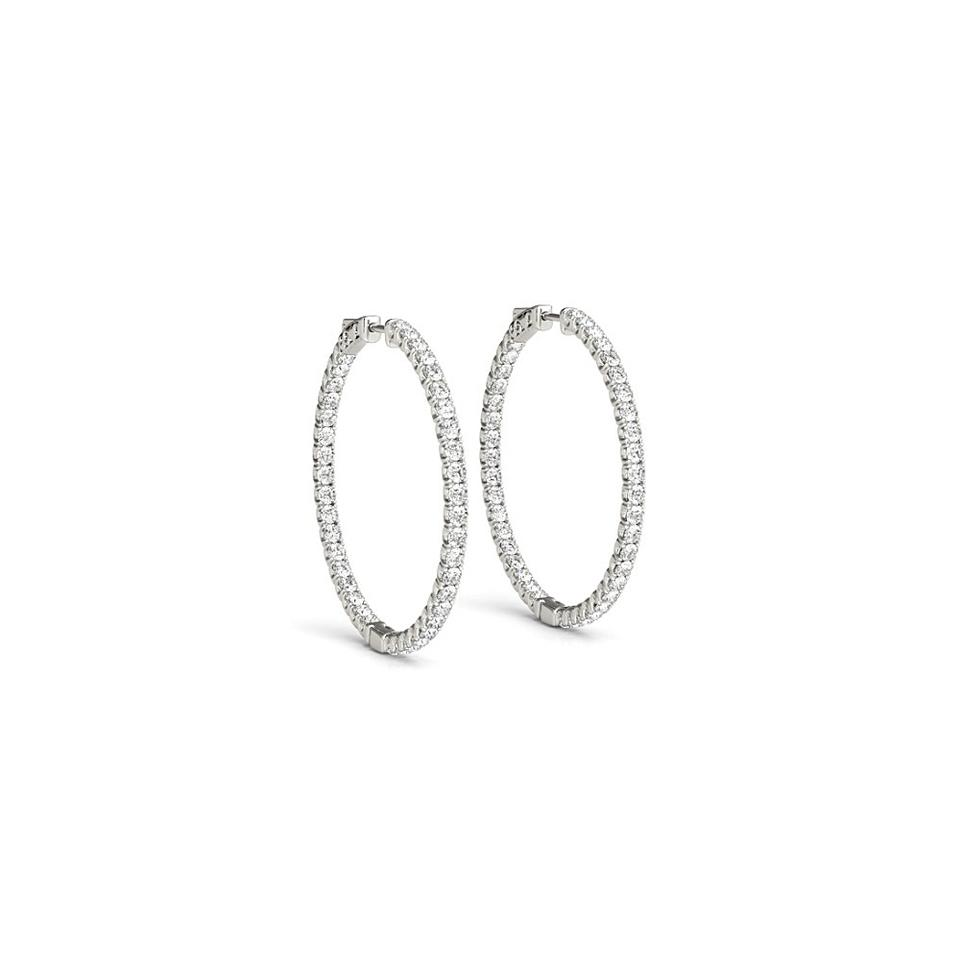 White 14k Gold 2 Ct Cubic Zirconia Inside Out Hoop For Women Earrings 62 Off Retail