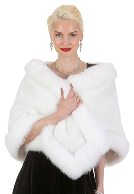 Item - White The Lana Mink and Fox Fur Stole Poncho/Cape Size OS (one size)