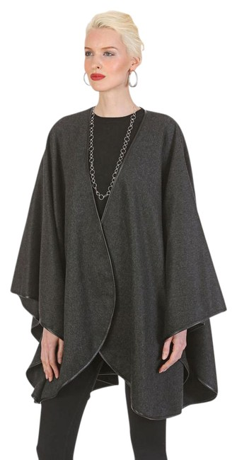 Item - Charcoal Gray Easy and Elegant Leather Trimmed Cashmere Poncho/Cape Size OS (one size)