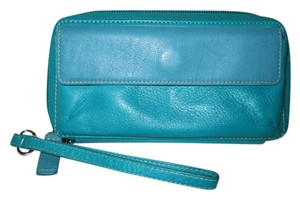 Levenger Leather Wallet Wristlet in teal