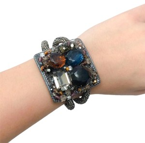Miriam Haskell Chain Wrapped Coil Bracelet With Stones
