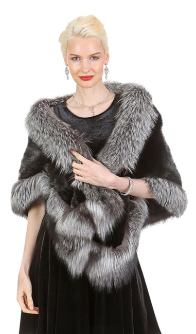 Item - Silver and Black The Lana Trim Mink Stole Poncho/Cape Size OS (one size)