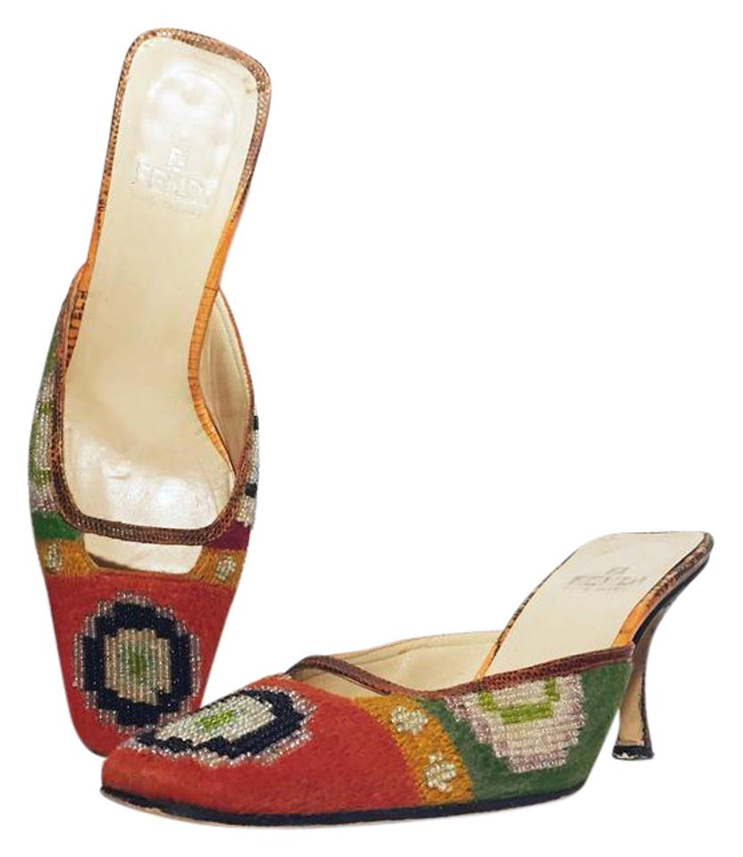 006f9c3fbb3a Fendi Orange Vintage Embellished Woven Heels Pumps Size US 6 Regular ...