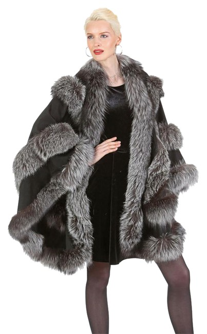 Item - Silver and Black Empress Style Trim Cashmere Poncho/Cape Size OS (one size)