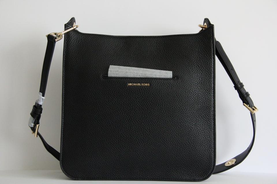 9934f003f014 Michael Kors Sullivan Large North South Black Leather Messenger Bag ...