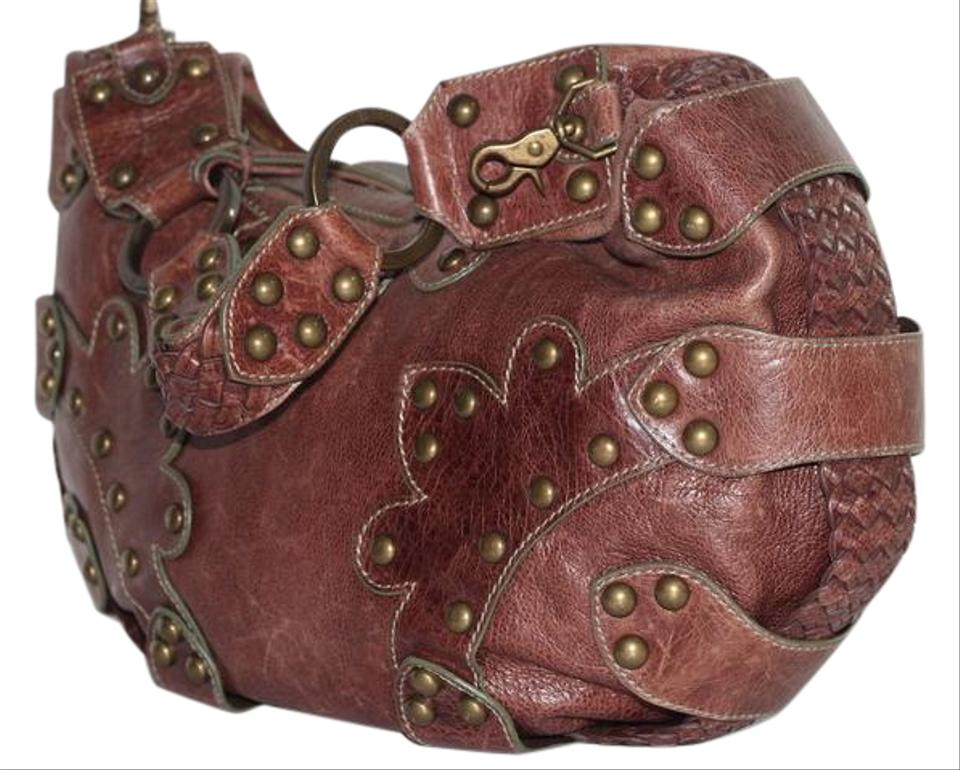 c458c5237b2e Isabella Fiore Studded Brown Leather Shoulder Bag - Tradesy