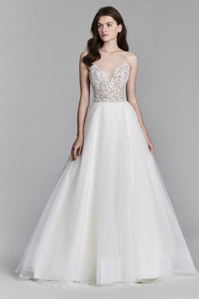 Jim Hjelm Ivory/Nude Organza 8706 Traditional Wedding Dress Size 8 ...