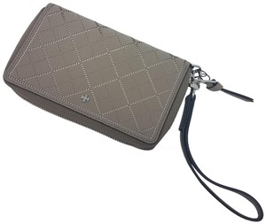 Tory Burch Taupe laser-cut leather Tory Burch Robinson wallet