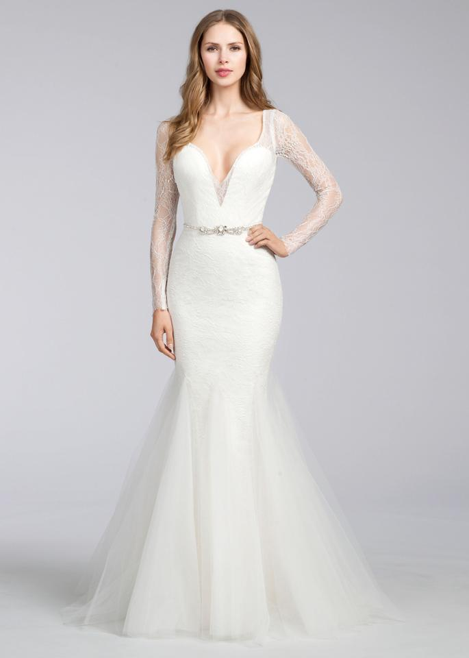 d57fef0db9f4 Jim Hjelm Ivory Tulle/Lace 8661 Modern Wedding Dress Size 10 (M) Image