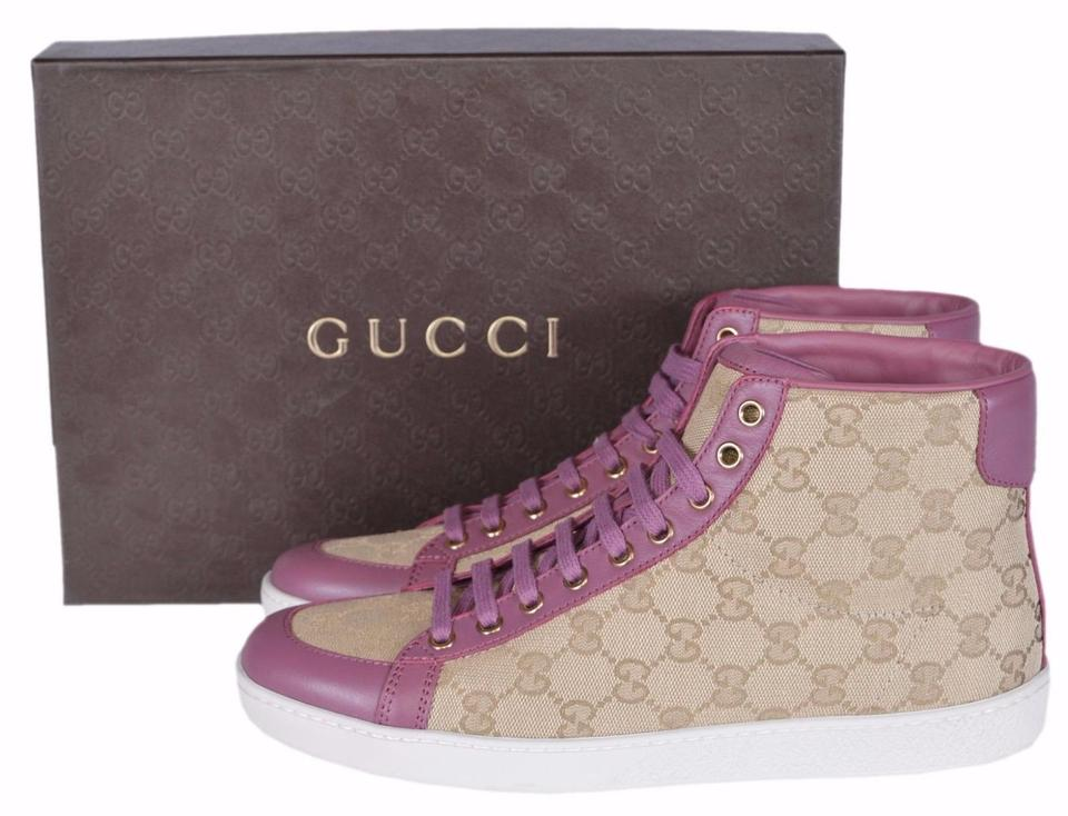 gucci sand pink new women 39 s brooklyn ssima high top sneakers flats size us 11 regular m b. Black Bedroom Furniture Sets. Home Design Ideas