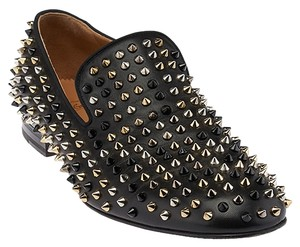 db4bd75565ca Christian Louboutin Black Men s Leather Spiked Loafers 44.5 (37123) Flats
