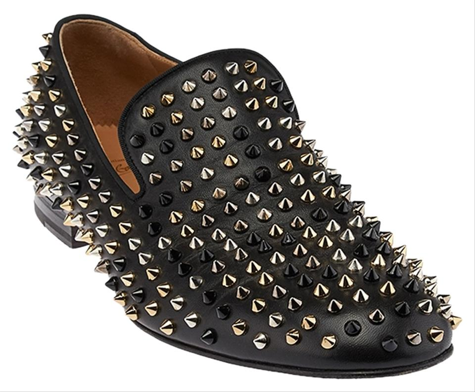 images détaillées 8be43 cb9e1 Christian Louboutin Black Men's Leather Spiked Loafers 44.5 ...