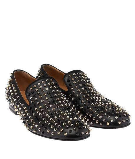 Christian Louboutin Men's Spike Loafers Leather Black Flats