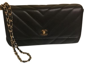 Chanel Leather Wristlet Black Clutch