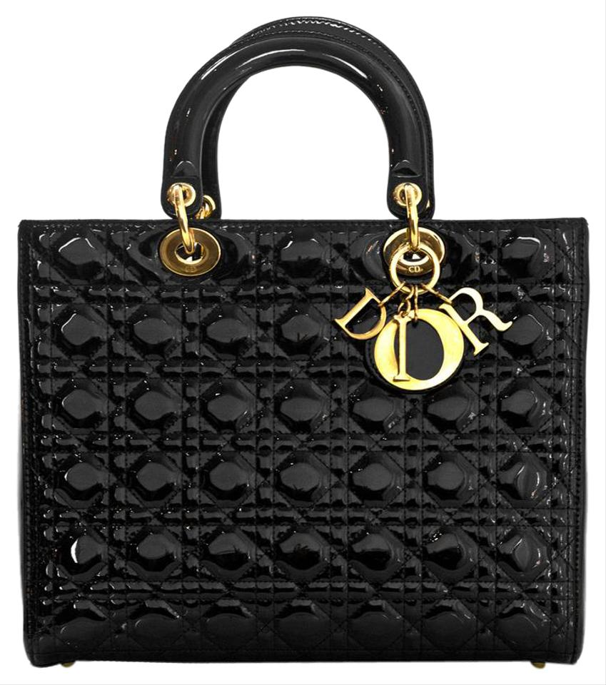 Dior Christian Patent Large Lady With Box And Db Black