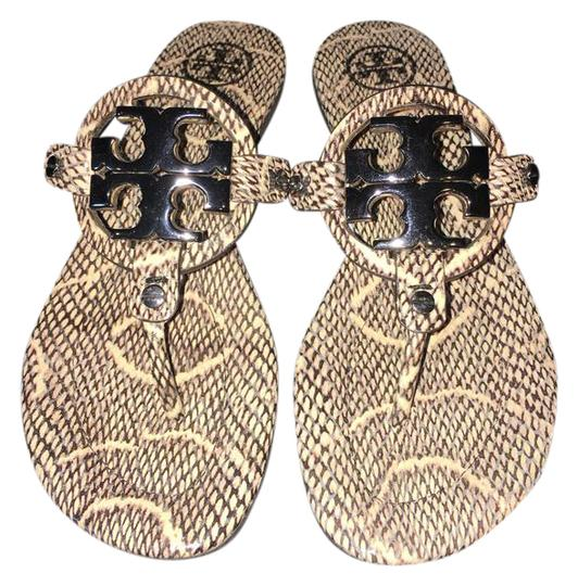 6d84348dffce4 ... Tory Burch Black Ivory Sandals ... popular stores 21ec7 fb5d2  Tory  burch Miller 2 Snake-Embossed Leather ...