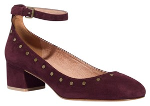 Madewell Leather Suede Studded Ankle Strap Dark Aubergine Pumps