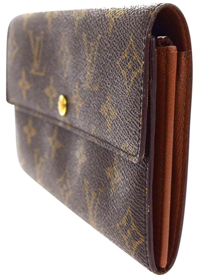louis vuitton mens wallet red louis vuitton credit long bifold wallet purse monogram brown m61725 coin mens