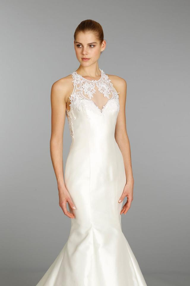 Lazaro Ivory Silk Mikado/Venice Lace 3356 Modern Wedding Dress Size ...