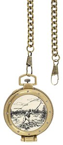 ELGIN Elgin-Men-039-s-Antique-style-look-Pocket-Watch-with-Fisherman-on-Cov